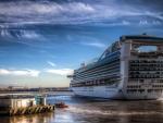 massive cruise ship sailing off hdr
