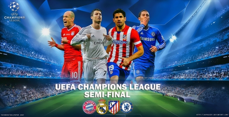 UEFA CHAMPIONS LEAGUE - SEMI-FINAL - cr7, champions league wallpaper, hazard, Bayern Munchen wallpaper, Bayern Munchen, robben, Uefa Champions League - Semi-final, diego costa, Atletico Madrid wallpaper, chelsea wallpaper, madrid, real madrid wallpaper, cristiano ronaldo, chelsea, ronaldo wallpaper, real madrid, adidas, champions league
