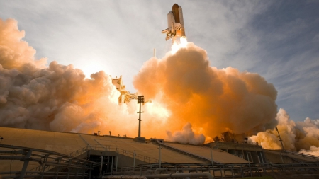 fantastic shuttle launch - fire, launch, pad, smoke, shuttle
