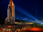 the shuttle discovery moving to launch pad