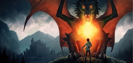 Dragon - Dragon Wallpaper, castel, evil, dragon, Dragon, city, dragon wallpaper, anime, sword, dragon eyes, fantacy, manga, fabel, fire, boy, heart, eyes