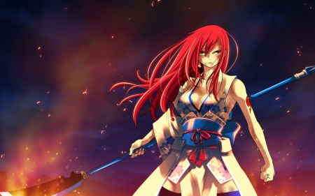 Erza Scarlet - red, fairy tail, cool, warrior, anime, fight, erza, long hair