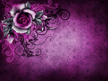 ♥Vintage Rose Background♥ - grunge, purple, rose, background, wallpaper, texture, vintage