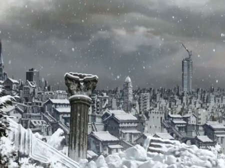 Snow - a city covered in snow, destroyed city, anime wallpaper, anime landscape, ruined city, snow covered city, A City Covered In Snow, city, snow, snowflakes, anime, Snow, anime scenery, landscape, anime city