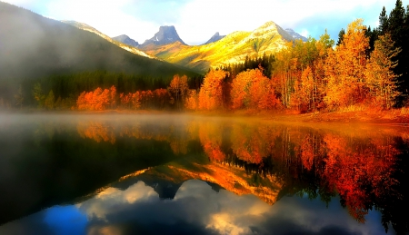 Autumn Reflexion - red, forest, fall, foggy, beautiful, trees, clouds, lake, mountain, reflexion, sunrise, snowy peaks