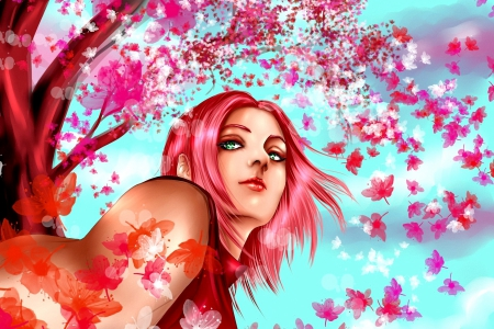 Pink Spring blossoms - lady with flowers, cherry blossoms, character, splendor, anime, pink colors, flowers, wind, sakura tree, spring, trees, buds, sky in anime, sakura blossoms, paradise, animation, blossoms, nature, spring blossoms, blooming, landscape