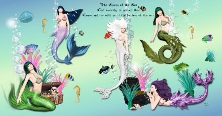 Sirens of the Sea - fish, water, sea, underwater, mermaids, fantasy