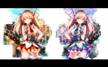 Twin Dimensions - colors, dimensions, twins, anime