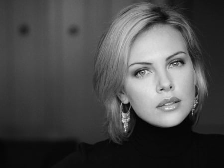 Charlize - black, white, actor, women