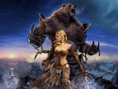 THE ULTIMATE WARRIORS - girl, giant, warrior, bear