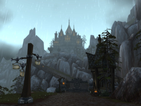 Gilneas (The Gates) - cataclysm, worgen starting zone, night, wow, rain