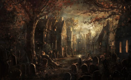 Halloween Town - irish, pumpkin, halloween, scarry, samhain, town, dark, celtic