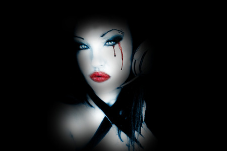 dont matter if its black or white - gothic model, other model, female, pur white, pale, headphones, pale and intreasting woman, blood, gothic, white, eyes