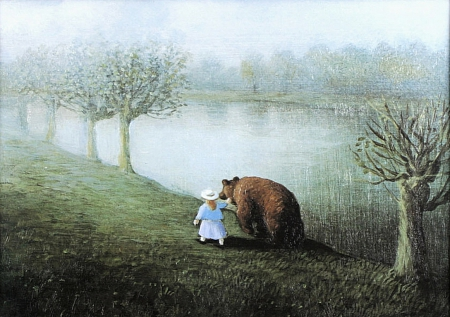 Girl and Grizzly - Kale, Bears, Paint, Lake, Nature