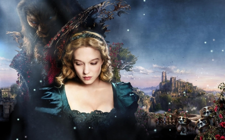 Beauty and the Beast (2014) - Beauty and the Beast, movie, belle, woman, fantasy, girl, actress, 2014, lea seydoux, la belle et la bete, blue, vincent cassel