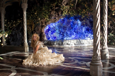 Beauty and the Beast (2014) - dress, beauty and the beast, movie, belle, blonde, woman, fantasy, girl, actress, 2014, lea seydoux, white, la belle et la bete, blue