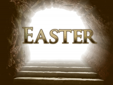 He Is Risen! - tomb, Easter, stairs, steps, light