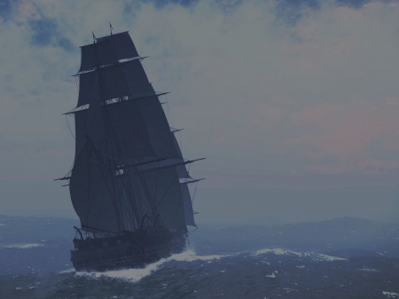 Ghost Sailor - water, sailship, sailing, waves, sea, mist