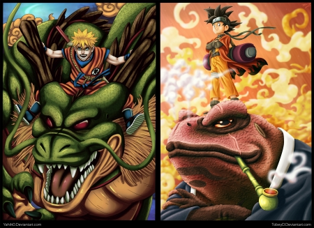 Naruto Dragonball - goku, blond, hd, naruto, guy, uzumaki naruto, crossover, beautiful, dragon, spiky hair, naruto uzumaki, anime, uzumaki, son goku, handsome, beauty, black hair, ninja, shinobi, male, blonde, blond hair, boy, cool, warrior, dragon ball, collages