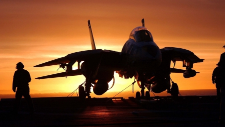 Silhouette Of F14 Fighter On Carrier At Sunset Military Aircraft