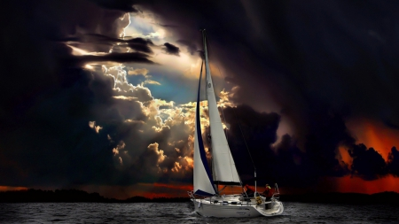 Storm Weather - water, sailing, clouds, sky, storm, sea