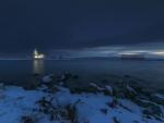 seaside church on a winter evening