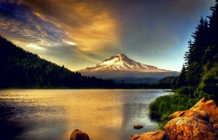 Mount Hood At Sunset - forest, Oregon, beautiful, sunset, sky, clouds, volcano, lake, mountain, snowy peak, reflection
