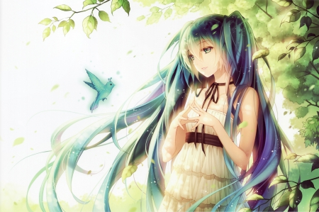 Hatsune Miku - pretty, dress, hatsune miku, beautiful, sweet, nice, twin tail, anime, beauty, anime girl, vocaloids, long hair, vocaloid, female, lovely, twintail, miku, twintails, twin tails, hatsune, girl, bird, miku hatsune, lady, green hair, sundress, maiden