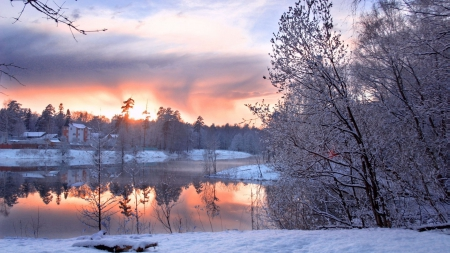 lake on a cold winter morning - winter, house, sunrise, clouds, trees, lake