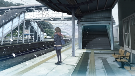 Just.. Waiting - female, alone, snow, anime, empty, stairs, white, train station