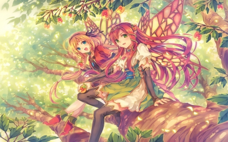 Forest, Fairy and Defenseless Ladies - Forest, New, Anime, BG, Forest Girl, Wall, Fairy, HighSchool Ladies, Beauty, Girl, Colour