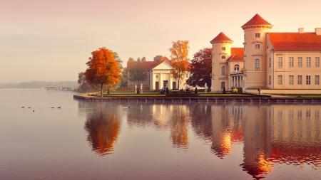 mansions on a german lake in autumn - autumn, mansions, ducks, reflections, trees, lake