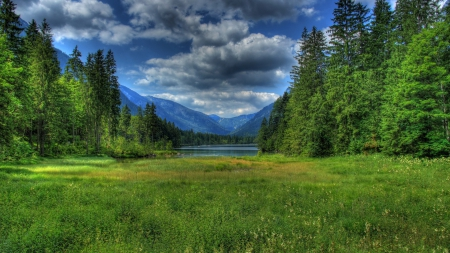 magnificent landscape in bavaria germany hdr - forest, grass, mountains, hdr, clouds, lake