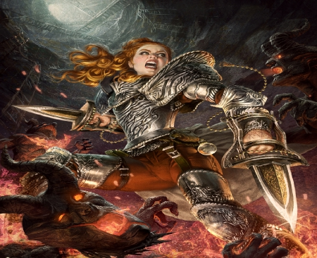 Fighting Her Way Out Of Hell - demons, fire, fantasy, swords, hell, woman, armour