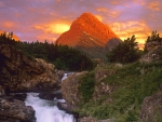 Grinnell Point and Swiftcurrent Falls, Glacier National Park, Montana