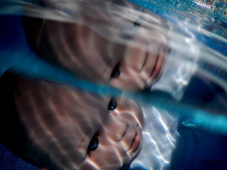 Creepy Baby Doll Underwater - underwater, creepy, pool, swimming, doll, baby
