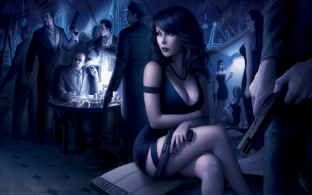 Underworld Empire - pretty, female, beautiful, CG, woman, sexy, gang, gun, girl, dark, blue