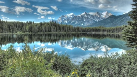 mountain reflection in a beautiful lake hdr - mountain, forest, hdr, reflection, clouds, lake