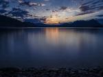 twilight over lake maggiore in italy