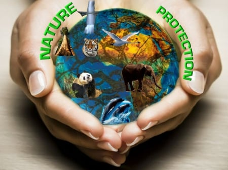 Nature Protection - water, save, air, protection, nature, care, earth, animal