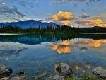 dawn over a lake landscape