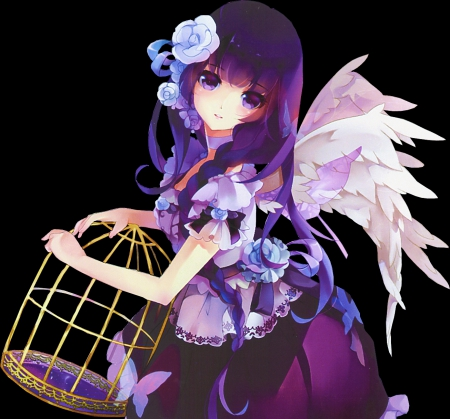 Sweet Angel - pretty, dress, beautiful, ribbons, woman, sweet, anime, flowers, beauty, long hair, feathers, female, wings, lovely, angel, black, roses, cute, girl, purple, birdcage