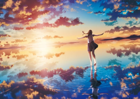 One With The Sea & Sky - horizon, sun, skirt, sky, clouds, sea, water, girl, anime, barefoot, reflection