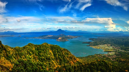 Taal Lake Panorama - Philippines, beautiful, crater, sky, clouds, volcano, lake, mountain, city, caldera, island