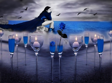 nostalgia.... - glasses, birds, sunset, blue rose, sea, candles, memories, brunettes, long blue dress, nostalgia, loneliness, girl, two colours, sandy beach