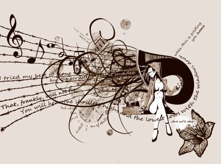 Songlines - text, music, notes, sketch, sentence, fantasy, song, girl, drawing, painting, lines, tune