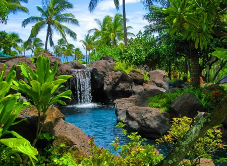 Tropical paradise waterfalls nature background wallpapers on desktop nexus image 1741188 - Paradise pictures backgrounds ...