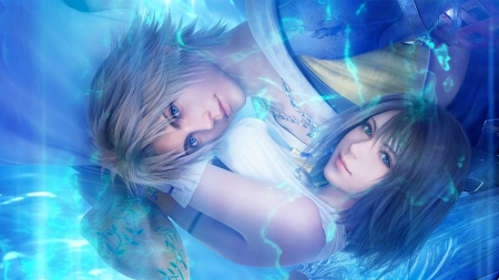 Tidus and Yuna - pretty, guy, cg, video game, beautiful, yuna, tidus, boy, water, girl, anime, beauty, final fantasy, render, blue