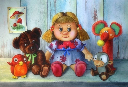 ★Stuffed Toy Friends★ - pretty, dolls, softness beauty, beautiful, still life, paintings, stuffed animals, love flowers, toys, artworks, lovely, love four seasons, creative pre-made, spring, weird things people wear, summer, teddy bear