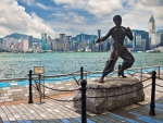 bruce lee statue at hong kong harbor hdr